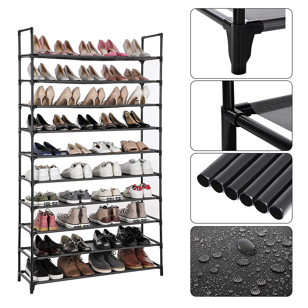 10 Layer Shoe Rack Nonwovens Steel Pipe Easy To Install Home Shoe Cabinet Shelf Storage Stand Holder Space Saving Shoe Rack HWC