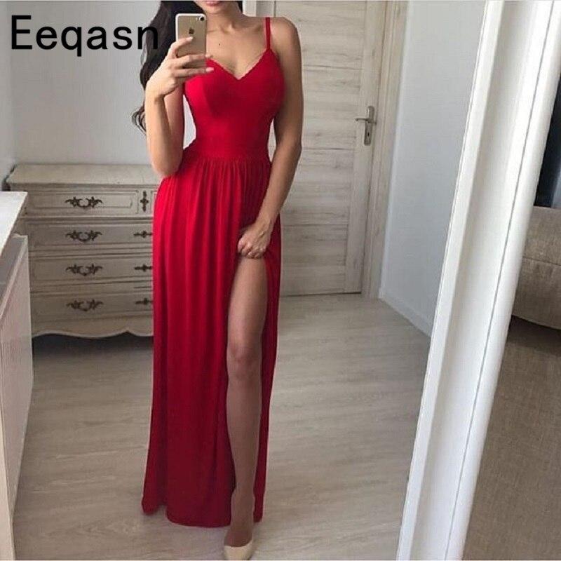 2018 Sexy High Slit Evening Dress Long Red Spaghetti Strap V-neck Vintage Prom Dresses A-Line Evening Dresses Vestidos Largos