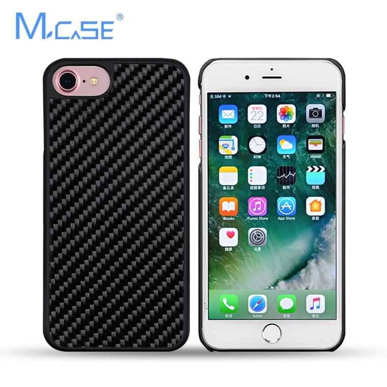 imágenes para 2017 Estuche protector PC + Real de Fibra de Carbono Cubierta de la Caja de Lujo Para el iphone 7 7 Más 7 Más de Carbono Teléfono casos