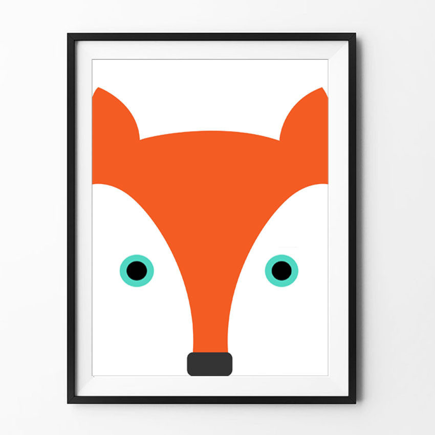Lovely Fox Wall Art Printable Art Kids Room Decor In Digital Illustration Poster Wall Pictures