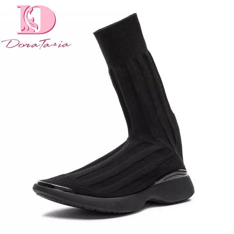 Noir Tricot Femmes La Chaussette Marque Femme Gros En Bottes Défilé Chaussures Populaire Sur Conception Glissent Doratasia wxqZHIB0q