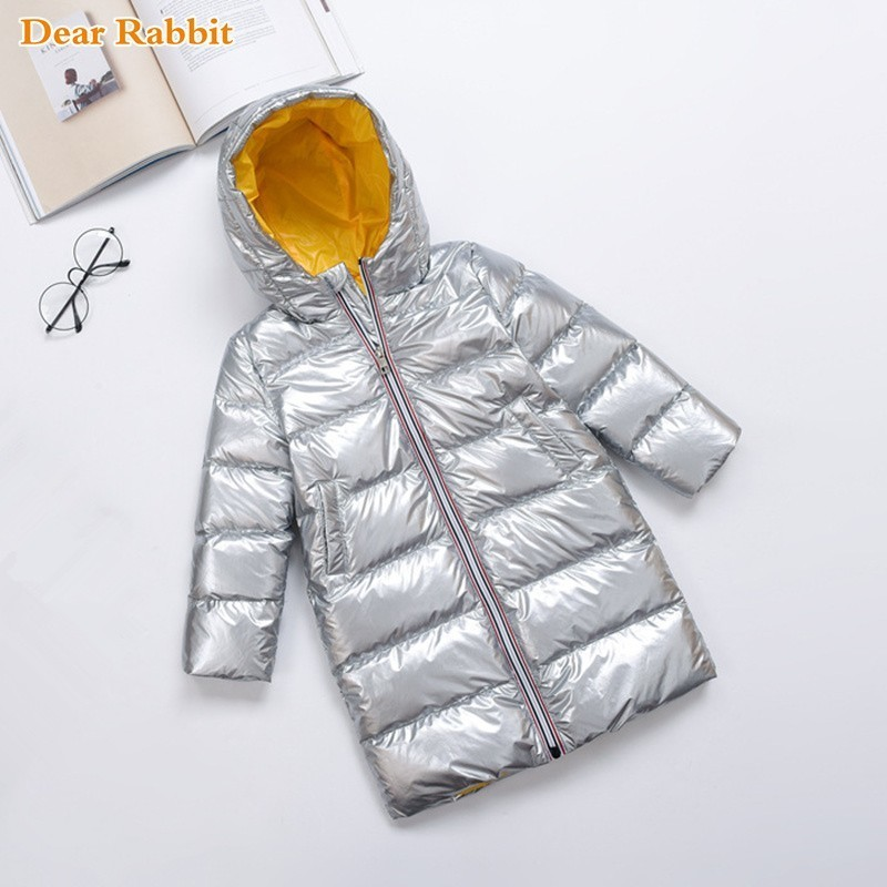 2018 New Winter coat Silver Children Baby Girl Clothes Duck Down Jacket Kids Overcoat Boy long hooded Parka waterproof clothing