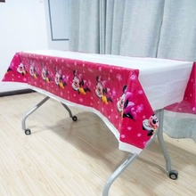 108cm*180cm Minnie Mouse Baby Shower Tablecloth Cartoon Theme birthday party decoration Event Supplies Disposable set