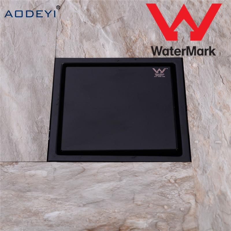 Aodeyi New Stainless Steel Shower Drain Black Bathroom Floor Drain