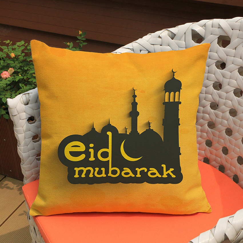 Islam Muslim Pillow Case Sacred Ramadan Decorations Sofa Cushion Cover Cotton Linen Eid mubarak Pillow Cover Home Decor 45x45cm