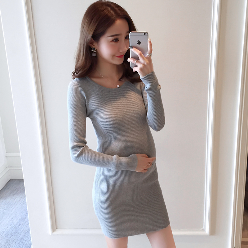 2017 one-piece dress sweaters for pregnancy women autumn maternity knitting sweaters o-neck dress maternity clothing B0302 pink knitting ripped details v neck long sleeves sweaters