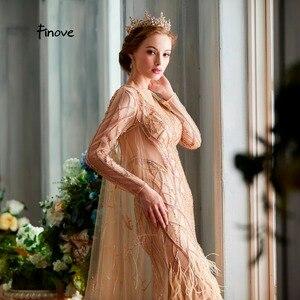 Image 5 - Finove vestidos de noche para mujer, novedad de 2020, elegantes vestidos de sirena champán de lujo con plumas y abalorios, longitud hasta el suelo, vestidos de fiesta para mujer