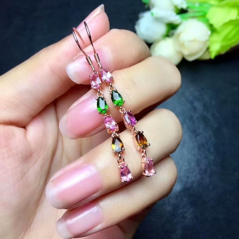 [MeiBaPJ]Natural Tourmaline Gemstone Water Drop Earrings Real 925 Silver Fine Charm Jewelry for Women pair of vintage faux gemstone oval water drop earrings for women