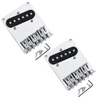 2Pcs 6 Saddle Bridge Pickup Assembly For Fender Tele Guitar Replacement