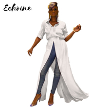 Echoine Summer High Split Turn Down Collar Big Swing White Dress Women Sexy Half Sleeve X-Long Blouses Shirts Maxi Dresses Belt white half sleeve maxi dress
