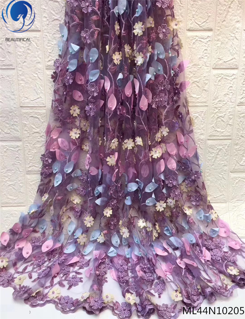 BEAUTIFICAL 3D lace fabrics appliqued fabrics laces 2019 french tulle lace with beads for wedding 5yards/lot ML44N102BEAUTIFICAL 3D lace fabrics appliqued fabrics laces 2019 french tulle lace with beads for wedding 5yards/lot ML44N102