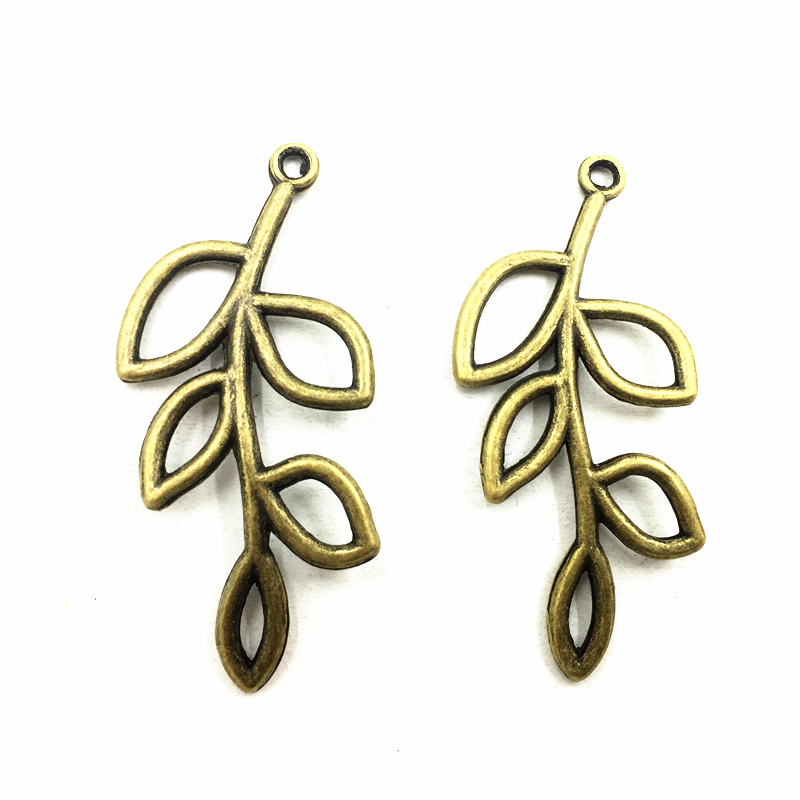 20Pcs Connectors Pendants For Necklaces Antique Bronze Tone Tree Branches Leaf Plant Metal DIY Jewelry Charms Findings 41x18mm in Jewelry Findings Components from Jewelry Accessories
