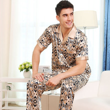Sexy Faux Silk Men Pajamas Fashion Printed Ice Sleepwear Male Short-Sleeve Pyjama Pants Sets Two-Pieces New 9278