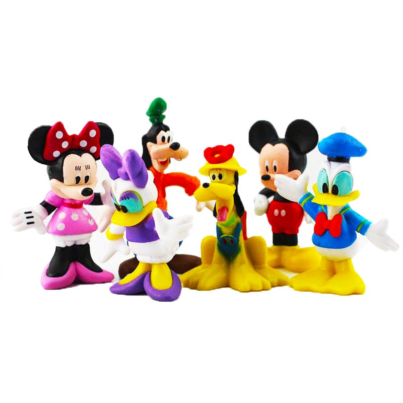 6pcs/lot Mickey Figures Minnie Mouse Donald Duck Goofy Dog Pluto Dog Daisy Cartoon PVC Figure Collection Model Toy Dolls 6-8cm skipping rope