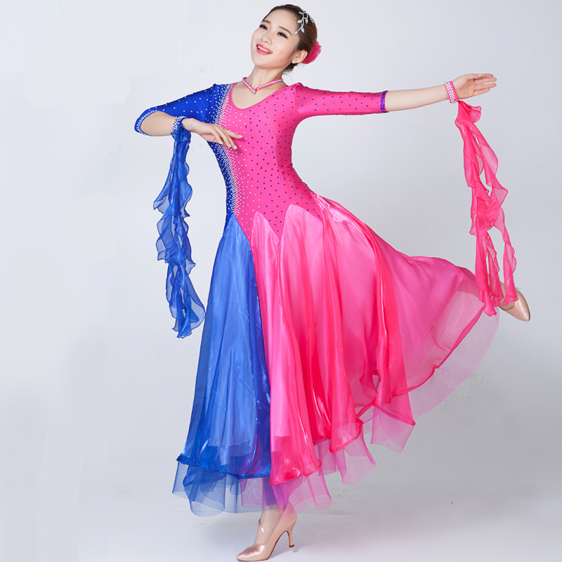 1334ffe6b58b Sparkling Diamond Mixed-Color Ballroom Dance Dress Stage Performance Costume  Women's Plus Size Modern Dancing Dresses MQ253