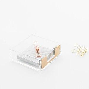 Image 4 - Многофункциональная акриловая подставка для записей, креативная акриловая прозрачная настольная коробка для хранения, Офисная подставка