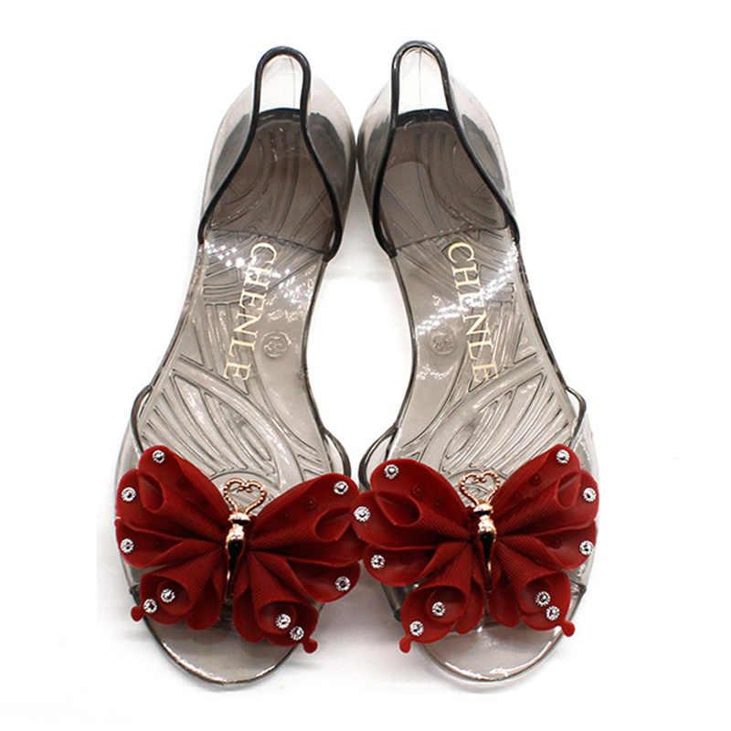 Nieuwe aankomst Vrouwen Schoenen Zoete Vrouwen Sandalen Kristal Transparante Schoenen Boog Vrouwen Sandalen Flats antislip Scarpe Donna Jelly schoenen