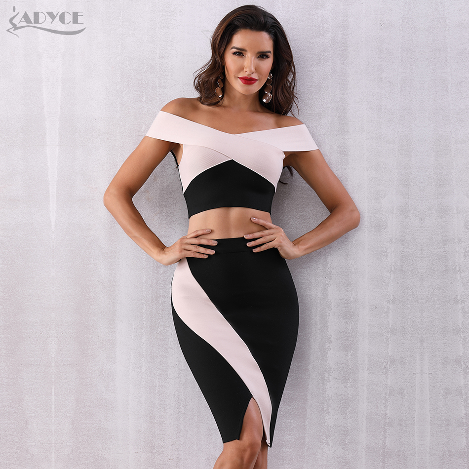 ADYCE 2019 Summer Women Bodycon Bandage Sets Summer Dress Vestidos 2 Two Pieces Set Top Slash Neck Celebrity Evening Party Dress