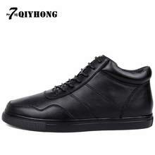 Hot New Genuine Leather Winter Boots Shoes Men  Black High Quality Comfortable Shoe 38-48 Free Shipping QIYHONG