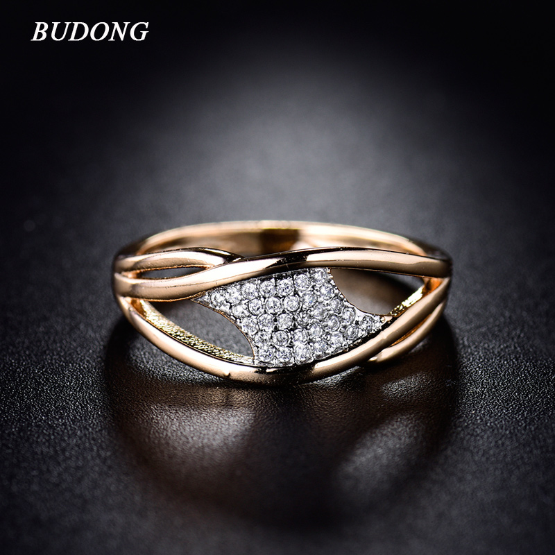 BUDONG font b Rings b font for Women Valentine Gift 2017 Fashion Crystal Gold Color Mid