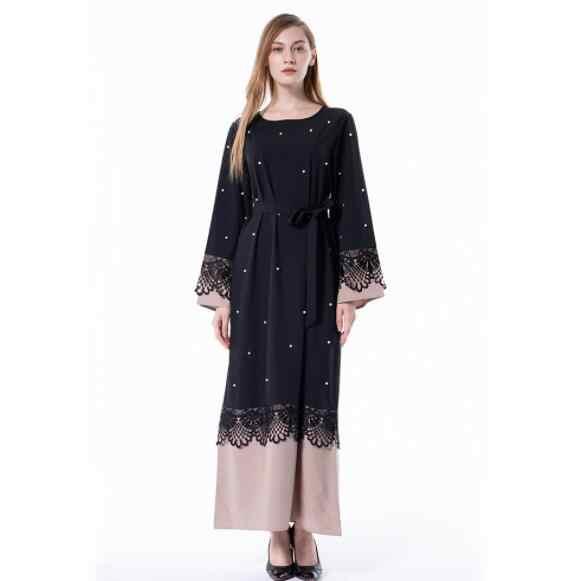 Халат больших размеров Малазийская абайя Дубай женское кружевное кимоно с бусинами и жемчугом кардиган мусульманское платье хиджаб Турецкая мусульманская одежда DV326