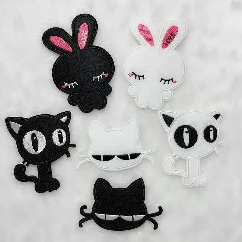 6 kinds  Cute kitty  Cartoon embroidery sticker Patch decorative paste All kinds of clothing, shoes and hats decoration