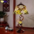 Стеклянная художественная лампа FUMAT  качественный витражный светильник в форме лотоса  настольная лампа в европейском стиле для гостиной  п...