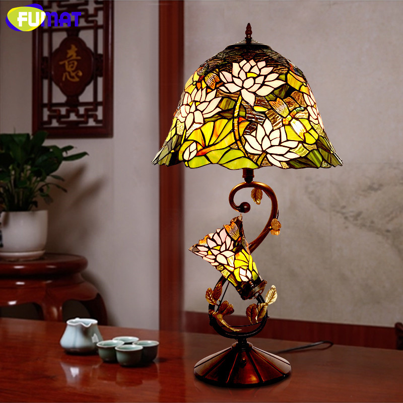 FUMAT Glass Art Lamp Quality Stained Glass Lotus Shade Table Lamp European Living Room Bedside Stand Lamp Bar Light Fixtures fumat parrots shape chandelier european vintage glass shade light dining room hanging lamp pendientes lustre light fixtures