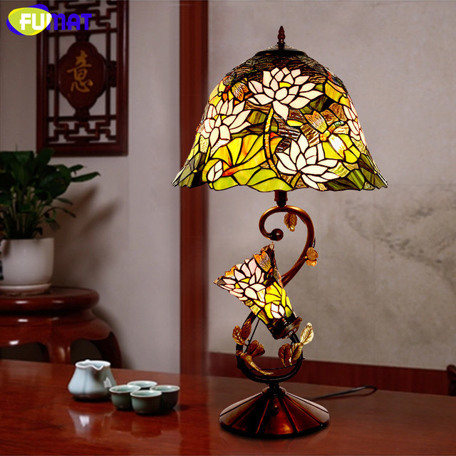 Fumat glass art lamp quality stained glass lotus shade table lamp european living room bedside stand