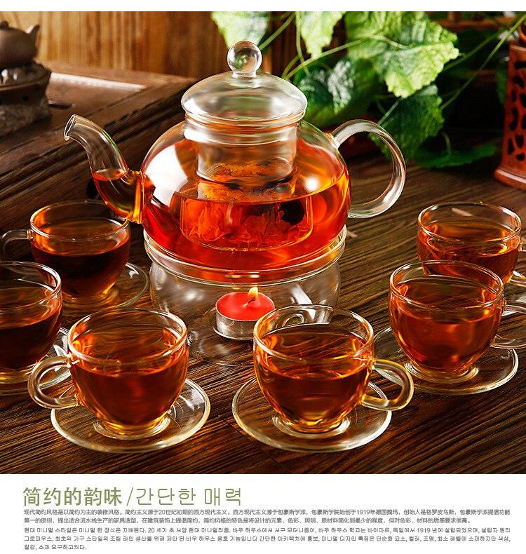 14pcs set teapot Set 6pcs Cups 6pcs saucers 1pc 600ml Heat resistant Glass Teapot 1pc warmer