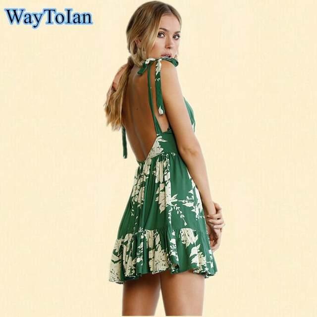 Waytoian Backless Ed Slip Dress Green Tropical Print Y Women Summer Dresses 2018 Plunge Neckline Bodycon Club Party
