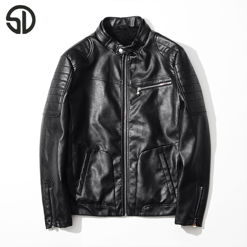 Mode Mâle Slim Pu Vestes En Veste Arrivée 2017new Cuir Noir Fit Manteau Multi Moto Zipper De Hommes Black qq7gnAPt
