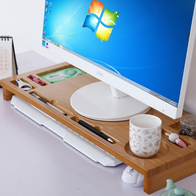 De MADEIRA DE bambu de Luxo Suporte para Monitor De Riser, bambu Organizador de Armazenamento da Mesa De Escritório