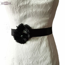 S173 Frete grátis Pure handmade Tecido Flor Acessórios do casamento nupcial caixilhos sash Mulheres Cintos cinto de Casamento Faixa De Noiva