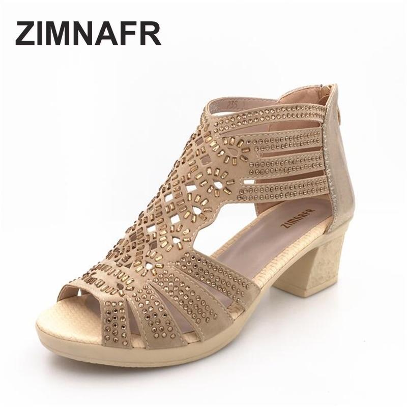ZIMNAFR BRAND 2017 summer female sandals leather fish mouth sandals cowhide diamond hollow high heel women GLADIATOR SANDALS