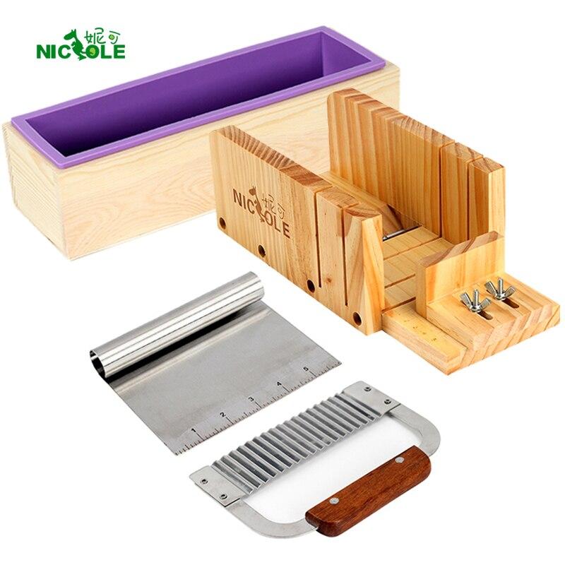 Nicole Molde Sabão Pão Silicone Set-4 Caixa Cortador De Madeira Com 2 Peças Lâmina de Aço Inoxidável para DIY Tomada de Sabonetes Artesanais ferramenta