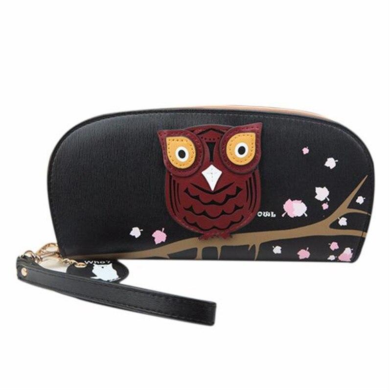 Women leather <font><b>Wallets</b></font> female Cute Owl <font><b>Glasses</b></font> <font><b>Printing</b></font> Rounded Zipper <font><b>Long</b></font> <font><b>Wallet</b></font> Ladies' Clutch Card Holder Girl Coin Purses