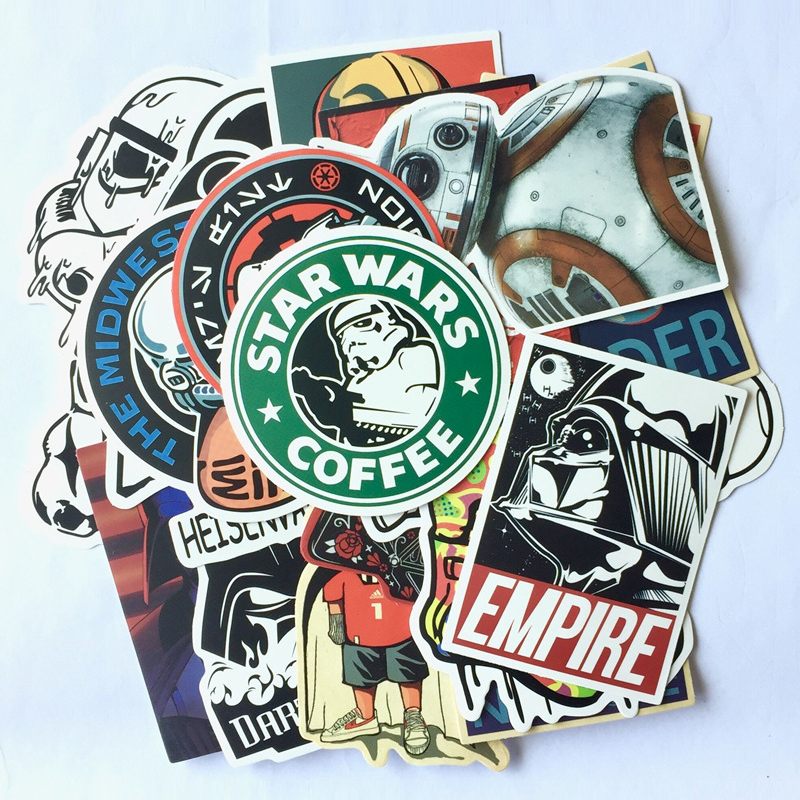 AQK 25Pcs/Lot Vinyl Star Wars Stickers For Kids Toy Graffiti Sticker For Skateboard Luggage Laptop Notebook Guitar Car BicycleAQK 25Pcs/Lot Vinyl Star Wars Stickers For Kids Toy Graffiti Sticker For Skateboard Luggage Laptop Notebook Guitar Car Bicycle
