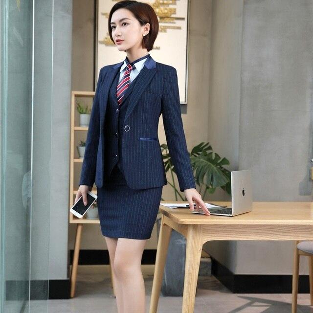 a2754640f Moda Listrado Blazers Elegantes Formais Estilos Uniformes Com 3 peças  Casacos + Saia + Colete Senhoras
