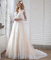 Vestido de Noiva 2019 New Wedding Dresses A line Long Sleeve Lace Beading Tulle Formal Elegant Luxury Wedding Gown SF18