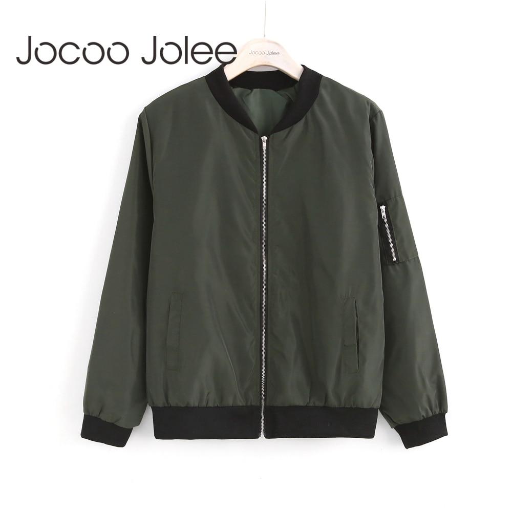 Jocoo Jolee Women Thin Jackets Fashion Basic Bomber Jacket Long Sleeve Coat Casual Windbreaker Stand Collar Slim Outerwear