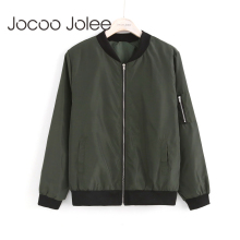 Jocoo Jolee Women Thin Jackets Fashion Basic Bomber Jacket L