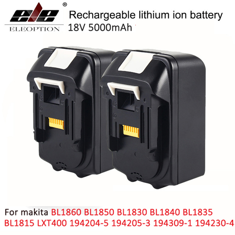 2x For Makita BL1850 18V Battery 5000mAh Rechargeable Lithium-ion Li-ion Power Tools Batteries for Makita BL1840 BL1830 eleoption for makita 18v 3000mah power tool battery pack for bl1830 bl1840 recharegeable battery cordless drill li ion batteries