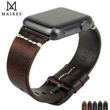 MAIKES שעון אביזרי צמידי עור אמיתי רצועת עבור אפל שעון רצועת 44mm 40mm iWatch להקות 42mm 38mm רצועת השעון