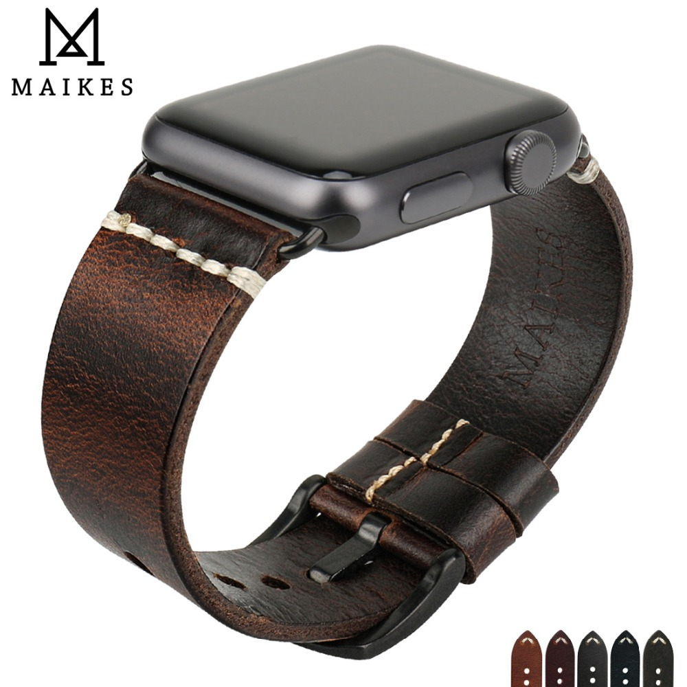 MAIKES Watch Accessories Bracelets Genuine Leather Strap For Apple Watch Strap 44mm 40mm iWatch Bands 42mm 38mm Watchband