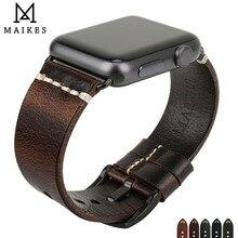 MAIKES bracelet en cuir véritable pour Apple Watch 44mm 40mm iWatch 42mm 38mm pour montre, accessoires