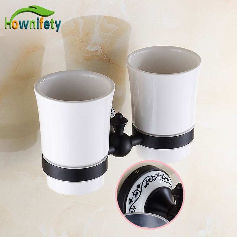 Free Shipping Oil Rubbed Bronze Tooth Brush Holder Double Ceramic Cups + Holder Wall Mounted black oil rubbed bronze wall mounted toothbrush holder with two ceramic cups wba472
