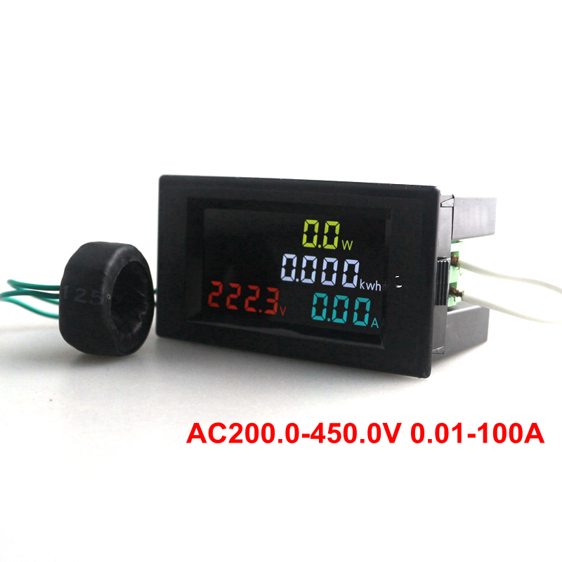 180 Degrees Flawless LED AC Voltmeter Ammeter AC200.0-450.0 V 0.01-100A HD Color Screen Power Energy Meter Monitor