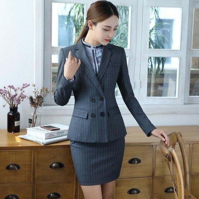 92c53df27 Nueva llegada de dos piezas rayado gris elegante falda traje tamaño S-4XL  Oficina uniforme