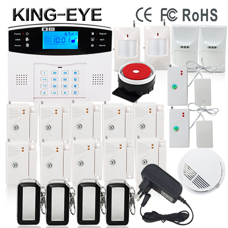 433 MHz Wireless LCD intercom GSM sms alarm system home security kit voice prompt with wireless smoke detector wireless smoke fire detector for wireless for touch keypad panel wifi gsm home security burglar voice alarm system